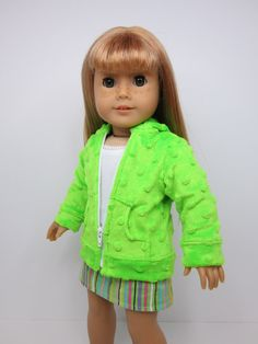 Neon green bubble hoodie by JazzyDollDuds on Etsy. Made with the Hoodie pattern. Get it here http://www.pixiefaire.com/products/hoodie-18-doll-clothes. #pixiefaire #hoodie