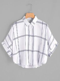 Young Casual Plaid Shirt Oversized Collar Half Sleeve Batwing Sleeve and Roll Up Sleeve White Grid Print Dip Hem Cuffed Blouse Girls Fashion Clothes, Teen Fashion Outfits, Cool Outfits, Casual Outfits, Tween Fashion, Dress Fashion, Fashion Fashion, Fashion Ideas, Vintage Fashion