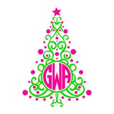 christmas tree monogram svg cuttable frames - Christmas Monograms