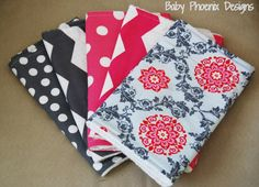 Baby girl burp cloth set of 5! Chenille or terry cloth - Chevron, polka dot and scroll pink and grey