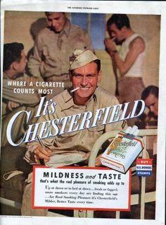 Original Saturday Evening Post ad 1940s,Chesterfield cigarettes, soldier, world war II, coca cola  - PD000578