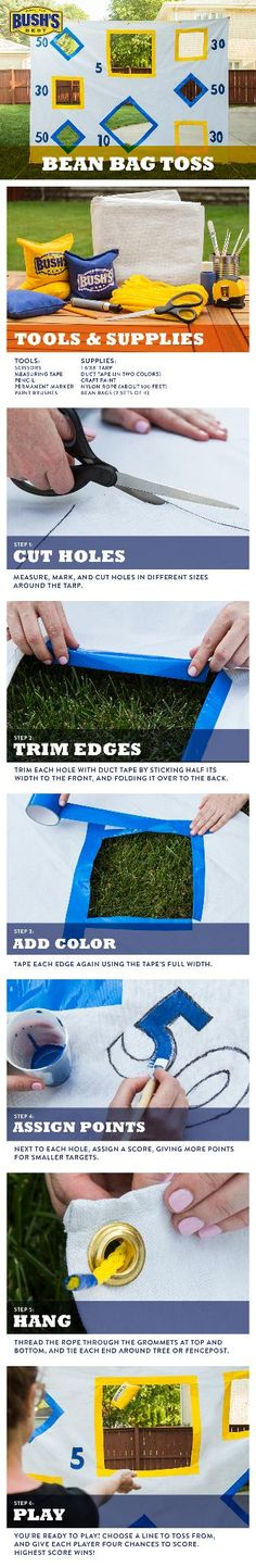 DIY Bean Bag Toss—This fun and easy game is inexpensive to make and built to last. Set it up in a flash between the trees in your backyard or fold up and take to the park for an even bigger Best Darn Backyard BBQ.