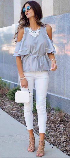 summer fashion trend: top + bag + skinnies