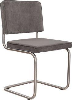 Ridge rib brushed frame grey chair