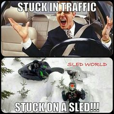 Stuck on a snowmobile, no trail rage here ; Snowmobile Trailers, Snowmobile Tours, Cool Dirt Bikes, Snow Fun, Vintage Racing, Winter Fun, Sled, How To Relieve Stress, Snowboarding