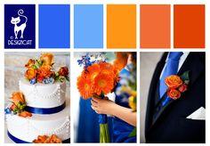 Blue & Orange Wedding Inspiration Colour Board - by Designcat