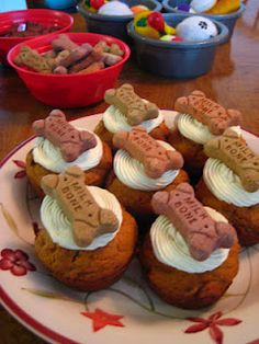 Doggie cupcakes (made of somewhat healthy things for dogs to digest...although the white flour is questionable...but once a year should do no harm!)