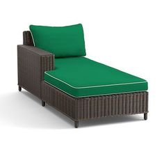 Torrey Sectional Right-Arm, Left-Arm Chaise Cushion Slipcover, Emerald + Natural Piping