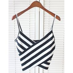 Wholesale Sexy Spaghetti Strap Sleeveless Striped Low Cut Women's Crop Top Only $3.76 Drop Shipping | TrendsGal.com