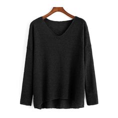 SheIn(sheinside) Black V Neck Long Sleeve Loose T-Shirt ($12) ❤ liked on Polyvore featuring tops, t-shirts, black, polyester t shirts, black t shirt, long sleeve v neck tee, v neck tee and v-neck tops