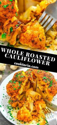 Whole Roasted Cauliflower - A fun and flavorful way to enjoy cooked cauliflower that is jam-packed full of delicious spices. Ways To Cook Cauliflower, Whole Roasted Cauliflower, Cauliflower Dishes, Healthy Food Choices, Heart Healthy Recipes, Clean Recipes, Cooking Recipes, What's Cooking, Healthy Meals