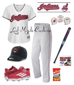 """World series baseball player: last minute costume"" by im-karla-with-a-k ❤ liked on Polyvore featuring Majestic, New Balance, adidas, Rawlings, York Wallcoverings and Louisville Slugger"