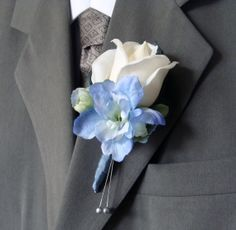 Real Touch Rose Wedding Boutonniere for Groom, Groomsmen - Real Touch White Rose with Blue Delphinium Silk Flower Wedding
