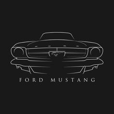 Shop 1965 Ford Mustang - front stencil, white antique car t-shirts designed by mal_photography as well as other antique car merchandise at TeePublic. 1965 Mustang, Mustang Fastback, Mustang Cars, Ford Mustang Gt, Cadillac, Car Logo Design, Car Design Sketch, Cool Car Drawings, Vw Vintage