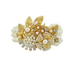 MIRIAM HASKELL Pearl Crystal Flowers Bracelet