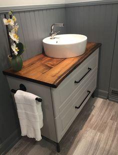 Country Contemporary Bathroom - Live Edge Ikea hack Godmorgon cabinet with custom live edge counterop Ikea Hack Bathroom, Ikea Bathroom Vanity, Wood Bathroom, Bathroom Renos, Bathroom Storage, Small Bathroom, Diy Tent, Bathroom Inspiration, Cottage