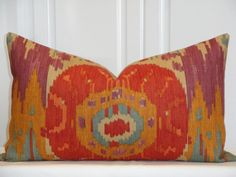 Navajo Nation By Robert Allen - 14 x 24 - Decorative Pillow Cover - IKAT - Orange - Purple - Tan - Teal - Throw Pillow - Accent Pillow