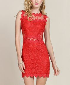 Poppy Red Floral Lace Sheer-Back Bodycon Dress