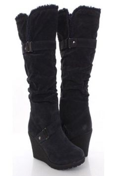Shoehorne Treviso3 - Womens Slouchy Dark Navy Blue Suede Faux Sheepskin Fur Shearling Trim Wedge Knee High Boots - Avail in Ladies Size 3-8 UK: Amazon.co.uk: Shoes & Accessories