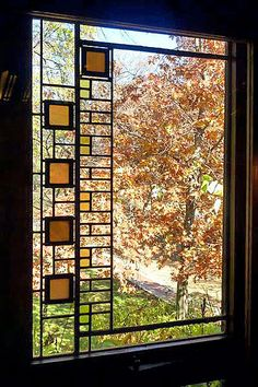 Avery Coonley House Prairie Style Stained Glass Window (1907-08) by Frank Lloyd Wright, Riverside, Illinois