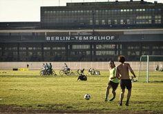 amateur football in front of Berlin's Tempelhof Airport.