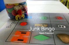 Today we put our math tokens to good work by making a DIY junk bingo game in preschool! Preschool Centers, Preschool Curriculum, Preschool Classroom, Kindergarten Activities, Preschool Activities, Teach Preschool, Cognitive Activities, Preschool Education, Group Activities