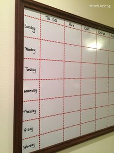 How to Make a Big DIY Whiteboard to Get Organized : Thrift Diving Blog