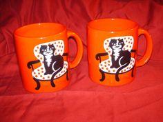 Waechtersbach W Germany Red Mugs withTuxedo Kittys - Lot of 2 - VG!