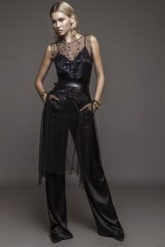 Tulle Top with embroidery and Silk Satin Flared Pants and Top Dark Mori, Flare Pants, Silk Satin, Summer Collection, Branding Design, Tulle, Spring Summer, Embroidery, Modern