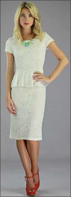 Ships out mid April! Such a classic and beautiful modest lace peplum dress. http://www.modestpop.com/products/sabrina-lace-dress-cream