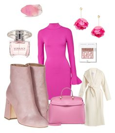 A fashion look from January 2018 featuring pink dress, white coat and heeled boots. Browse and shop related looks. Furla, Bobbi Brown, Pink Dress, Versace, Heeled Boots, Fashion Looks, Michael Kors, Cosmetics, Coat