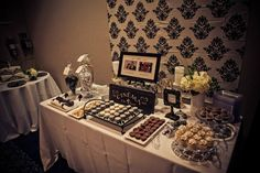 Dessert table - black & white - movie themed - wedding anniversary Photography by Marina Mougois #renewalofvows