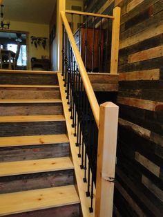 reclaimed barnwood staircase and wall...LOVE