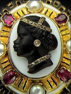 antique cameo pearl ruby gold brooch pin