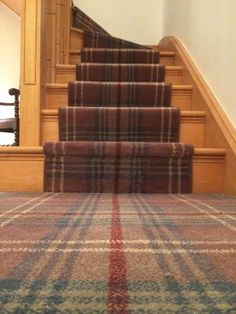 Best Carpet Runners For Stairs Key: 4737674050 Tartan Stair Carpet, Carpet Staircase, Hall Carpet, Staircase Runner, Stair Runners, Hallway Colours, Pub Interior, Interior Design, Pub Decor