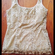 ✂PRICE CUT ✂Beige lace top Lace top, lined and built in shelf bra Tops