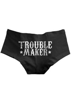 """Women & # s """"Trouble Maker"""" Boy Shorts by Badcock Apparel (Black) Cool Outfits, Fashion Outfits, Black Boys, Boy Shorts, Cool Shirts, Plus Size Outfits, Clothes For Women, My Style, Lady"""