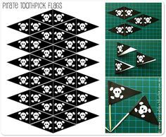 """Pirate"" printable toothpick flag templates for cupcakes. FREE: www.mypaperplanet.com"