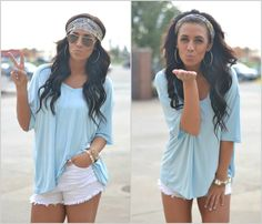 Oversized tshirt, shorts, and headband to easily change up the look. Country Outfits, Country Girls, Casual Outfits, Cute Outfits, Country Fashion, Spring Summer Fashion, Spring Outfits, Look Fashion, Fashion Beauty