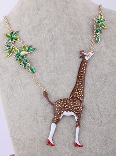 Handmade giraffe jewelry necklace leaf  by GraceLiCollection, $39.90