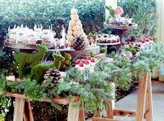 Gorgeous woodland sweet table from a Woodland Forest Baby Shower via Kara's…