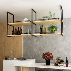 Retro Ceiling-Type Solid Wood and Iron Wall Hanging Shelf Flower Stand Suspended Ceiling Storage Rack for Restaurant/Bar Ceiling Storage Rack, Ceiling Shelves, Wall Hanging Shelves, Hanging Racks, Suspended Shelves, Rustic Wood Floating Shelves, Home Decor Kitchen, Kitchen Interior, Home Interior Design