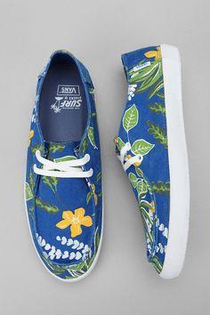 Hawaiian Printed Vans -- Love the bold blue