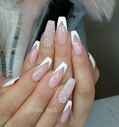 nails french tip ~ nails french tip . nails french tip color . nails french tip with design . nails french tip glitter . nails french tip ombre . nails french tip acrylic . nails french tip coffin . nails french tip short White Tip Nail Designs, Acrylic Nail Designs, French Nail Designs, French Tip Design, Diamond Nail Designs, Diamond Nails, White Tip Acrylic Nails, White Nails, White French Nails