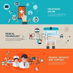 heart health care red: Diagnóstico médico en línea y el tratamiento. Conceptos de diseño Piso en web banners y materiales impresos y materiales promocionales. Vectores