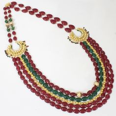Ruby Kundan Chand Style Long Necklace @ Indiatrend For $142.99USD