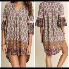 SMALL BOHO PRINT STYLE TUNIC DRESS SMALL BOHO PRINT STYLE TUNIC DRESS, dress this up or down, 65% cotton, 35% poly, very nice quality Dresses High Low
