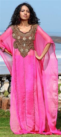 325094, Kaftan, Satin, Machine Embroidery, Sequence, Stone, Patch, Bugle Beads, Pink and Majenta Color Family