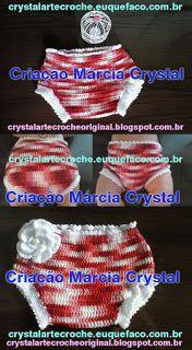 Crystal Arte Crochê: Calcinha Tapa Fraldas em Crochê Karina Flower