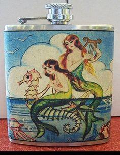 Mermaid flask retro vintage 1950's pin up by buckaroosmercantile